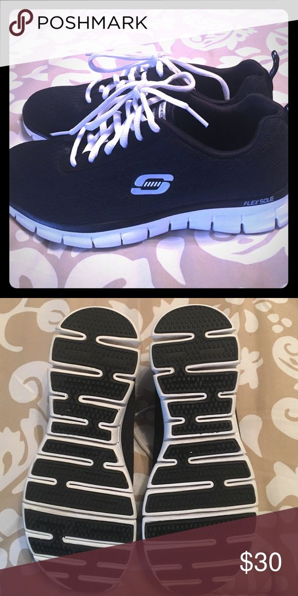 Brand new Sketchers tennis shoes Brand new Black and white sketchers. Worn one time. In perfect condition sketchers Shoes Sneakers