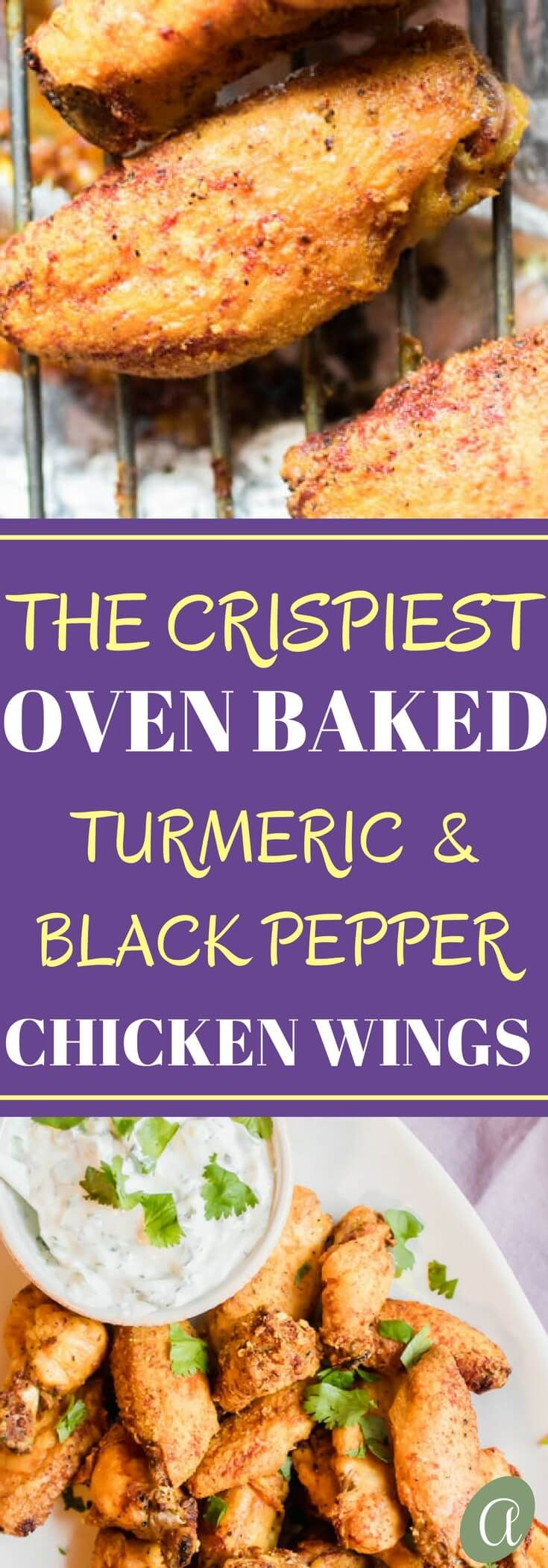 The crispiest oven baked healthy chicken wings with a turmeric black pepper spice rub!t Served with a tangy yogurt dipping sauce. You won't believe how good this recipe is! via @abrapappa
