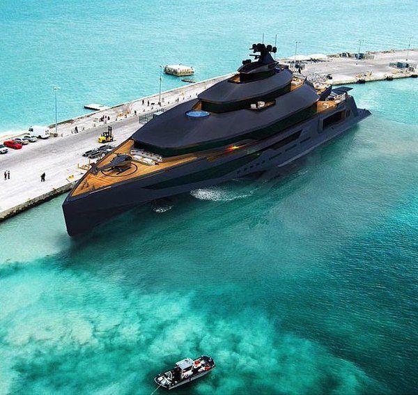 Stealth Yacht schwarz.... mit Front Geschütz und vielen weiteren Sicherheits Vorkehrungen eine der sichichersten Jachten oder eher Festungen ; )