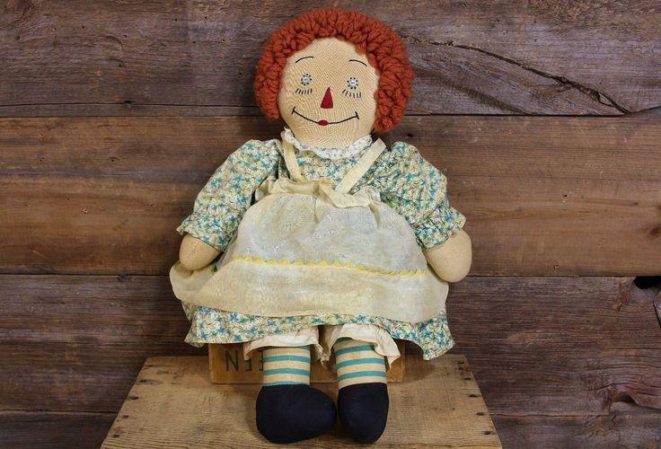 "Early RAGGEDY ANN Doll BLUE STOCKINGS 20"" All Cloth HAND STITCHED Georgene?   eBay"