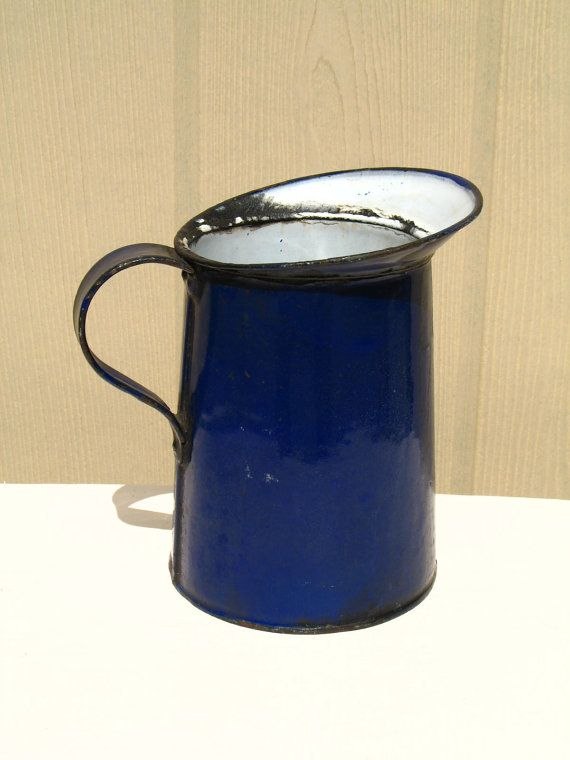 Vintage Royal Blue Enamel Pitcher / Enamelware / Shabby Chic Home Decor / Rustic Pitcher