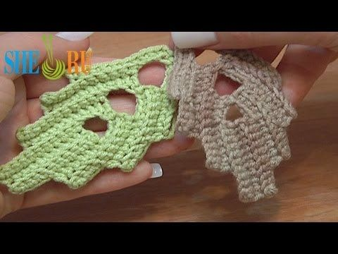 ▶ How To Crochet Leaf With Holes Inside Tutorial 7 - YouTube