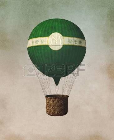 globo aerostatico: globo antiguo papiro años Foto de archivo
