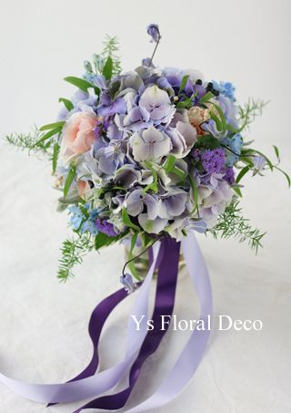 アンティーク調の薄紫アジサイのクラッチブーケ @シェラトングランデトーキョーベイ ys floral deco
