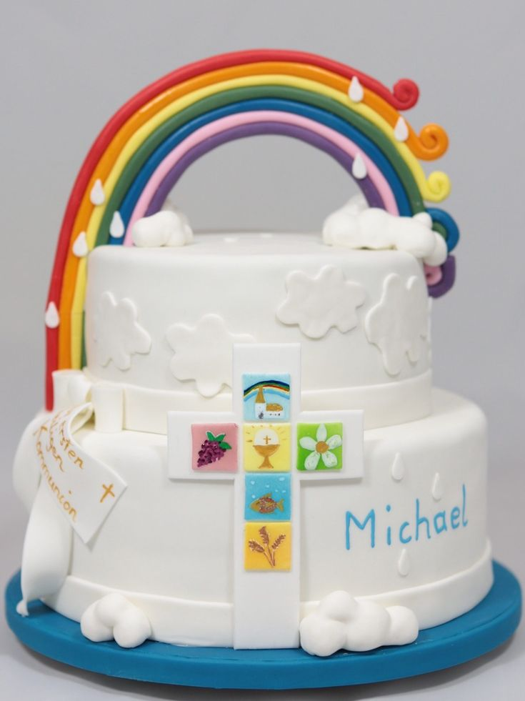 Regenbogen Rainbow Torte Cake First Communion Erstkommunion
