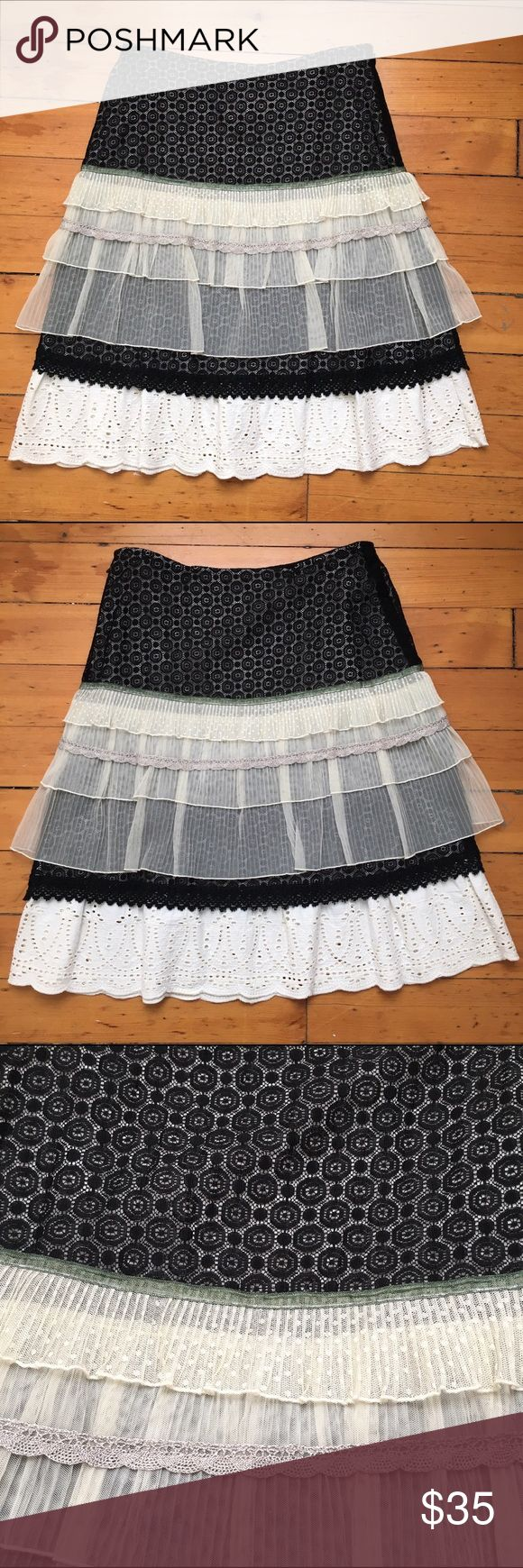 Snak Layered Ruffle Skirt Anthropologie brand Snak A line skirt with lace and eyelet detailing and mesh layers. Side zip, EUC. Anthropologie Skirts A-Line or Full