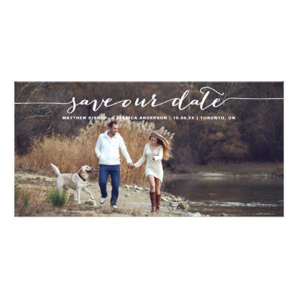 White Handwritten Script Photo Save Our Date II Card - script gifts template templates diy customize personalize special