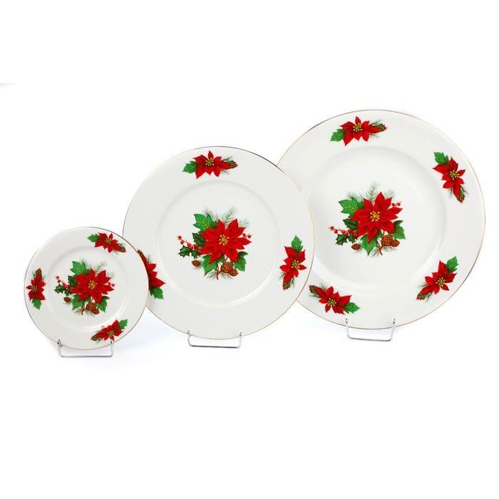 Εορταστική πρόταση για σας που τα Χριστούγεννα έχουν χρώμα κόκκινο-πράσινο-χρυσό. Το σετ αποτελείται από 6 ρηχά πιάτα, 6 γλυκού και 1 πιατέλα στρογγυλή.