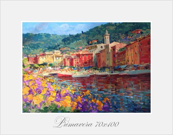 Springtime Flowers at Portofino oil on canvas