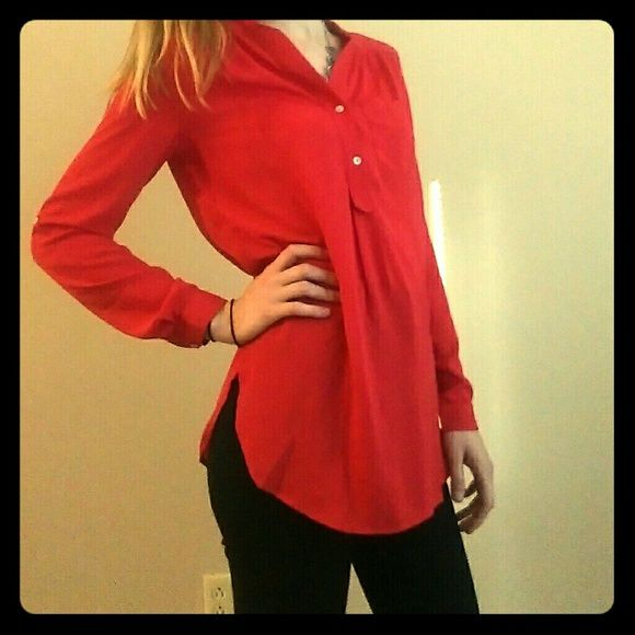 Red Tunic Never worn long sleeve red tunic! Buttons on sleeves for rolling them up. 100% Polyester Tops Tunics