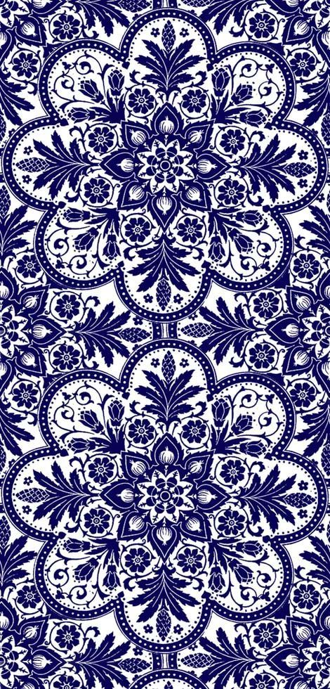 spoonflower.com... pattern somewhere between mandala, Eastern European-ish motifs, and maybe a dash of Zentangle. But cheerful, elegant, and blue. https://www.facebook.com/CrescentDragonwagonFearlessly