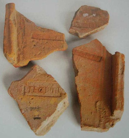 Fragments Of Fired Clay Tiles With The Stamp Of Legio Iv