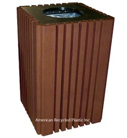 Heritage Deluxe 40 gl Waste Receptacle in Brown.  Comes in 6 colors!  $785.00.  FREE Shipping on all 2+ unit orders~ Check out all our pins at American Recycled Plastic or visit us online at www.itsrecycled.com #benches #tables #outdoorfurniture #patiofurniture #buyrecycled #recycled plastic #family business