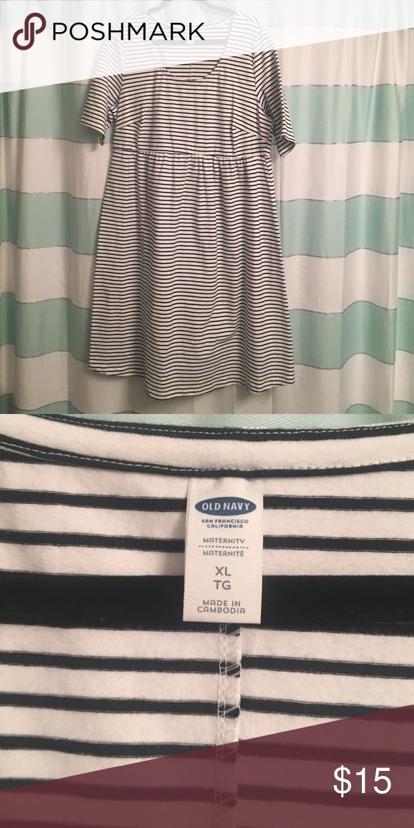 Maternity dress New without tags's Old Navy maternity dress black and white striped. Dress just about knee-length.  Very cute and comfortable. Old Navy Dresses Midi