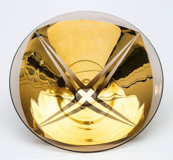 Lubomir Blecha, glass bowl produced for XI. Triennale Milano, light-smoked glass decored by gold, 1957, D: 30,0 cm, executed by Bohumil Blecha glass rafinery in Kamenicky Senov (Steinschoenau), UMPRUM Prague, Czechoslovakia