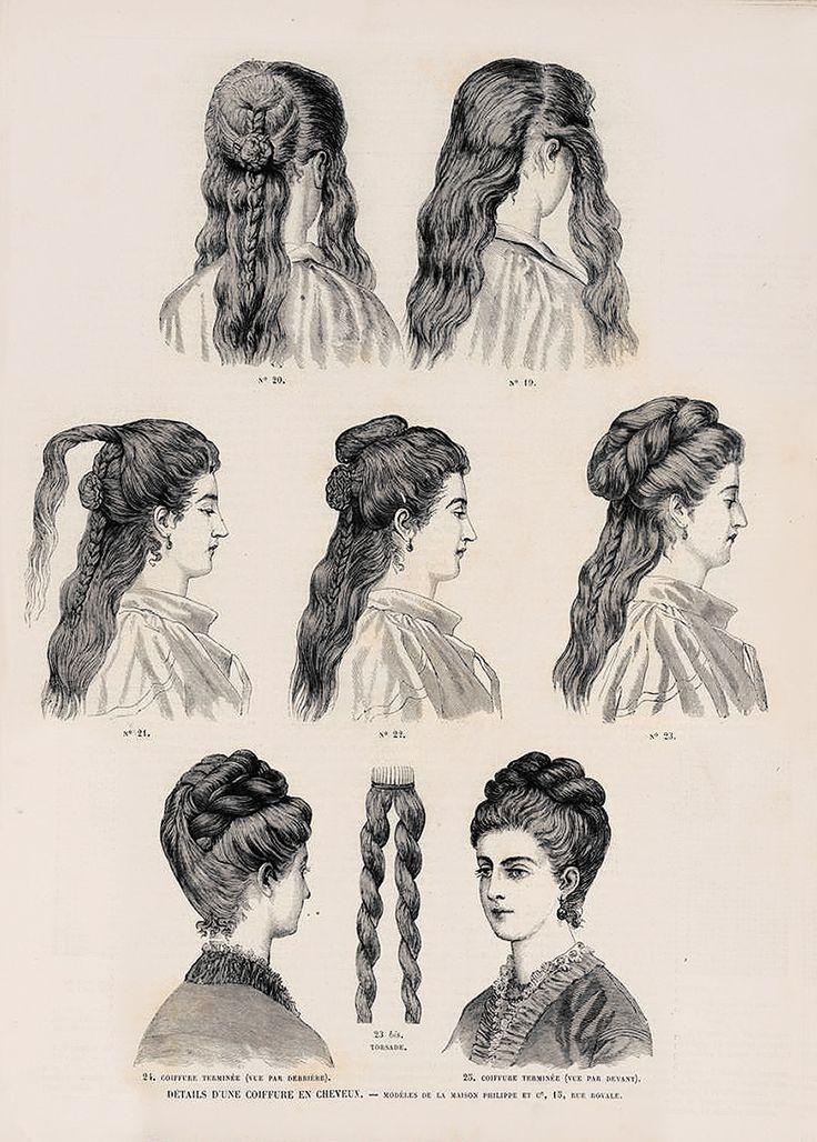 1873. Revue de la mode. Details d'une coiffure en cheveux