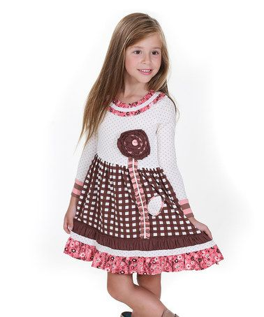 Look what I found on #zulily! Brown & White Into the Woods Lillipop Dress - Toddler & Girls #zulilyfinds