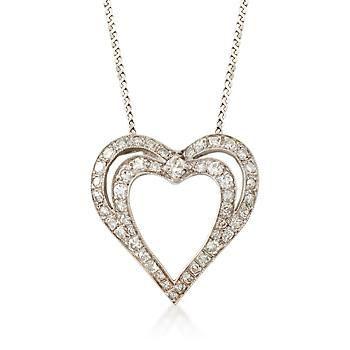 "Ross-Simons - C. 1990 Vintage 1.00 ct. t.w. Diamond Heart Pendant Necklace in 14kt White Gold. 18"" - #883272"