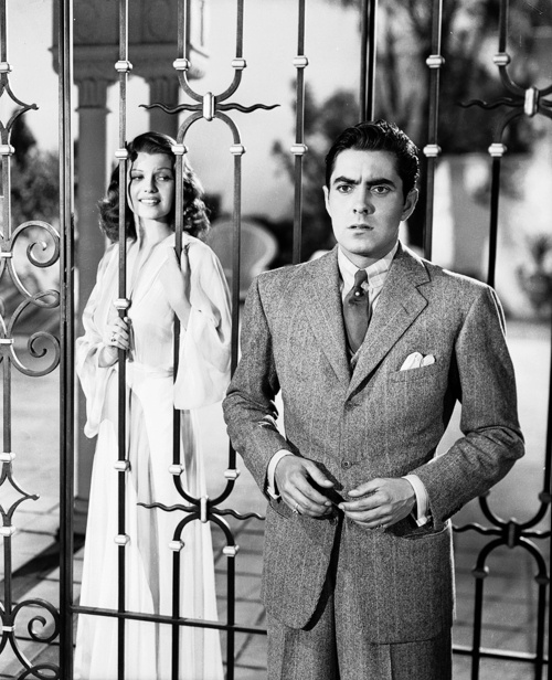 Rita Hayworth and Tyrone Power in a production still for Blood and Sand, 1941.