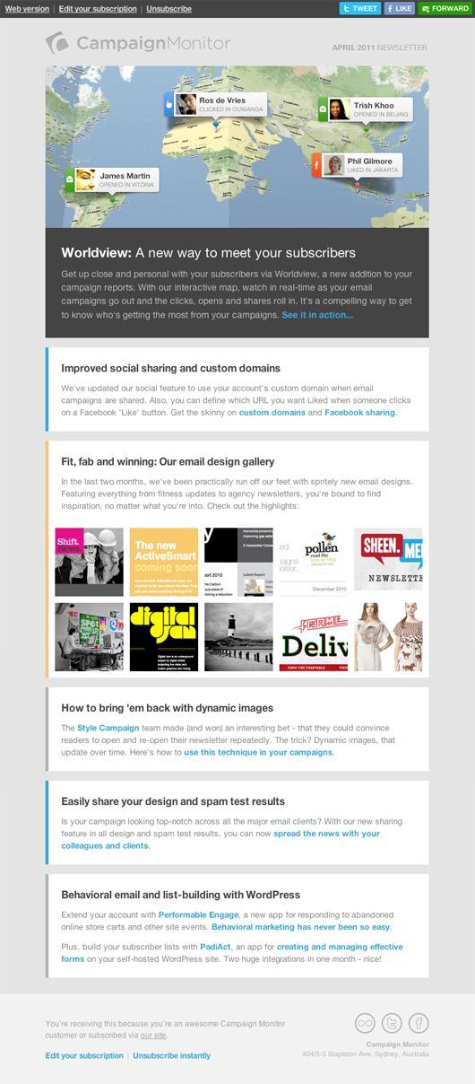 Mobile email design in practice: the new Campaign Monitor newsletter