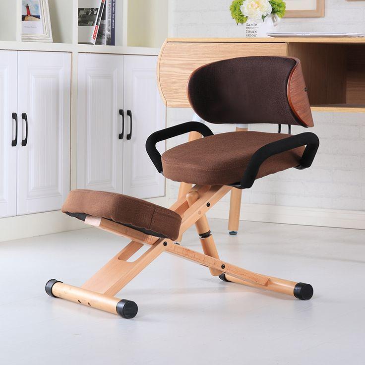 Ergonomis Kursi Berlutut dengan Kembali dan Menangani Furniture Kantor Modern Kursi Kayu Kantor Berlutut Postur Kursi Tinggi Disesuaikan