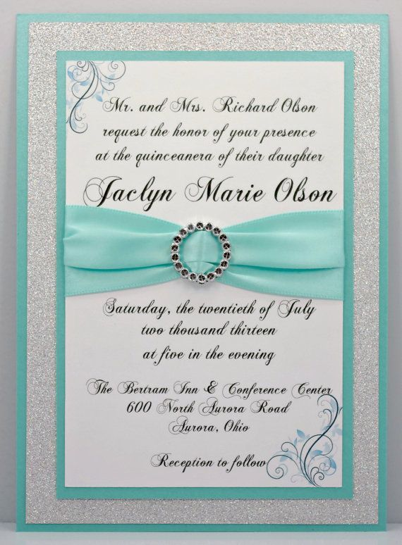 mint green and white and gold invitations - Google Search