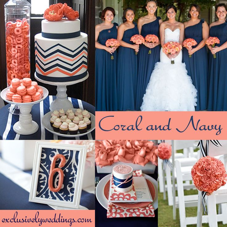 Coral and Navy Wedding Colors – This combination is versatile and works with many wedding styles such as preppy, nautical, rustic and more