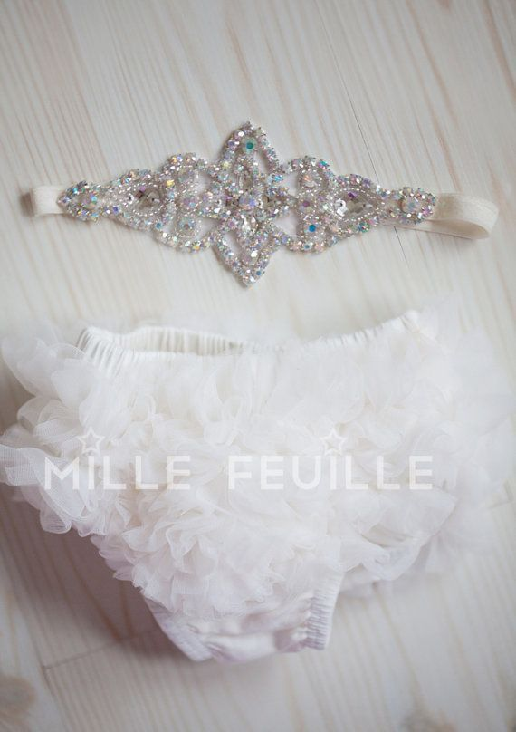 newborn crown headband and diaper cover ruffler bloomers in ivory off white... For my little princess.