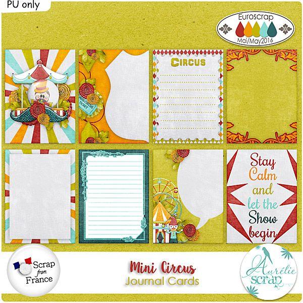 """Journal Cards """"Mini Circus"""" by Aurélie Scrap. Des Journal Cards qui embellieront vos pages... Il contient : 8 journal cards"""