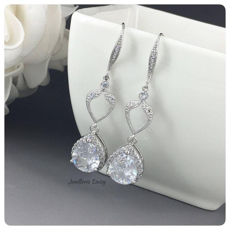 Long Cubic Zirconia Earrings, Bridal Earring, CZ Earrings,  Wedding Earrings, Bridal Jewelry, Dangle Earrings, Statement Earrings by DaisyBeadzJoaillerie on Etsy https://www.etsy.com/ca/listing/524663135/long-cubic-zirconia-earrings-bridal