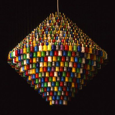 Chandelier made from discarded poppers. Very originalPlastic Bottle, Parties Poppers, Ideas Parties, Lights Fixtures, Chandeliers, Stuart Haygarth, Rainbows Parties, Design, Recycle Art