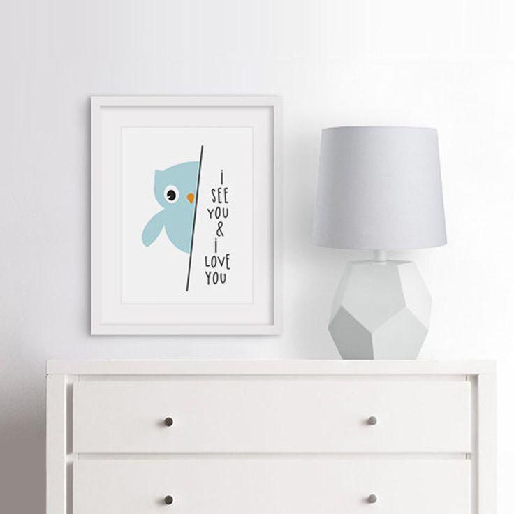 Owl I love you Nursery Art Print, Baby Gift Safari Modern art Babys Room, Canvas…