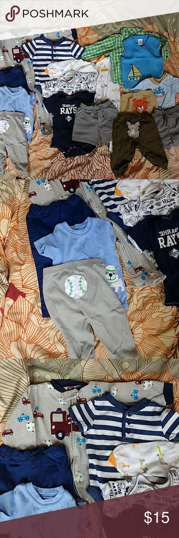 Bundle of 15 🍼👣 Baby Clothes size 6m - 9m 15 assorted items, all size 6m - 9m. Assorted brands ::: child of mine by carters, circo, nursery rhyme, mlb, garanimals ::: includes short sleeve snap bottom one piece, pants, shorts, short sleeve shirt, long sleeve footed snap one piece, fleece footed zip one piece. All garments are pre-loved and some have stains. Please let me know if you have any questions! Carter's One Pieces