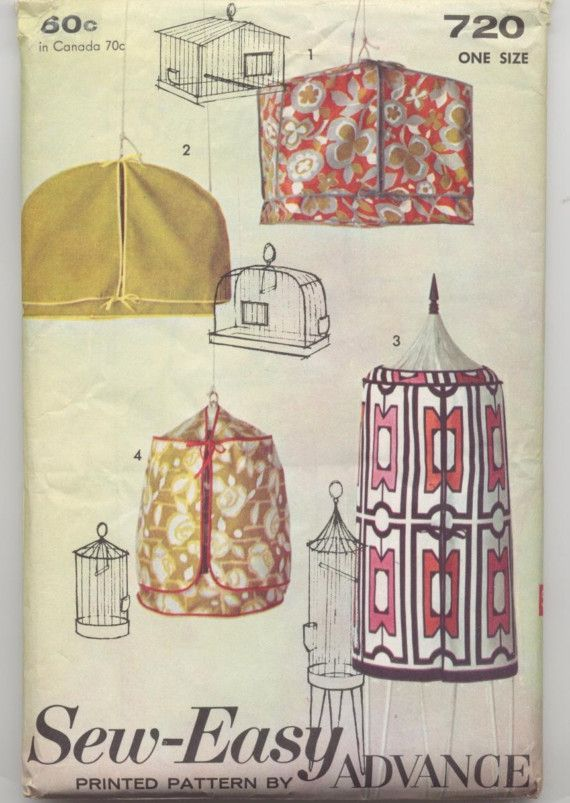 Vintage Bird Cage Covers and Seed Guards Pattern, Four Styles Advance 720 UNCUT by BusyBasket via etsy