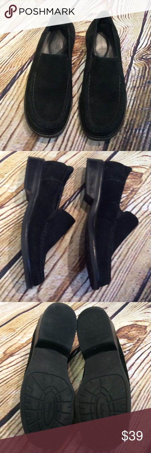 SZ 6.5W ROCKPORT BLACK SUEDE LEATHER LOAFERS/SHOES Lightly used black suede loafers by ROCKPORT. Comfy and great support Rockport Shoes Flats & Loafers