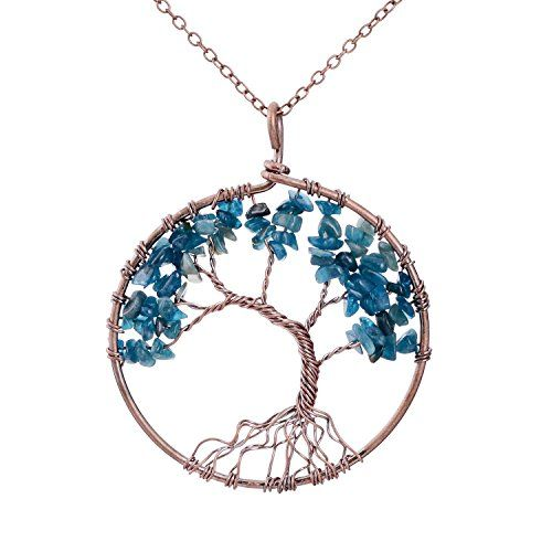 Family Root Wire Wrapped Tree of Life Crystal Pendant Necklace Charm Light Sapphire Pendant September Semi Precious Natural Raw Birthstone Birth Stone Necklace Wisdom tree necklace Mothers Day Gifts