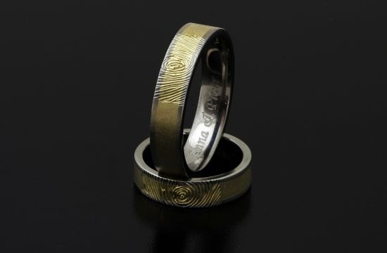 #Rings by #Bielak  yellow gold / #titanium  unique #wedding rings with #fingerprint  #HandMade in #Poland