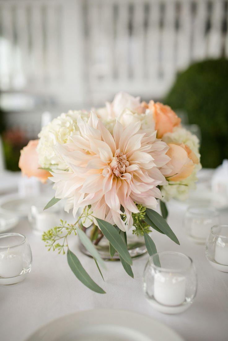 Romantic, Pastel Dahlia and Rose Centerpieces                                                                                                                                                     More