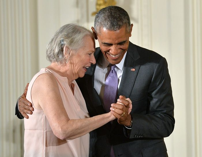 Washington DC, US President Obama with author Annie Dillard during the National Medals Of The Arts And Humanities ceremony at the White House Photograph: UPI