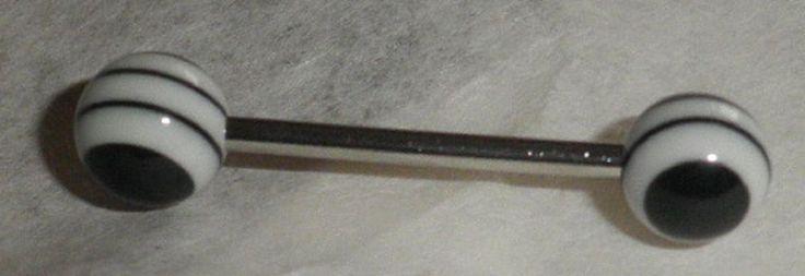 Piercing langue boule oeil blanc-noir-acier chirurgical 316L-spirale-cible