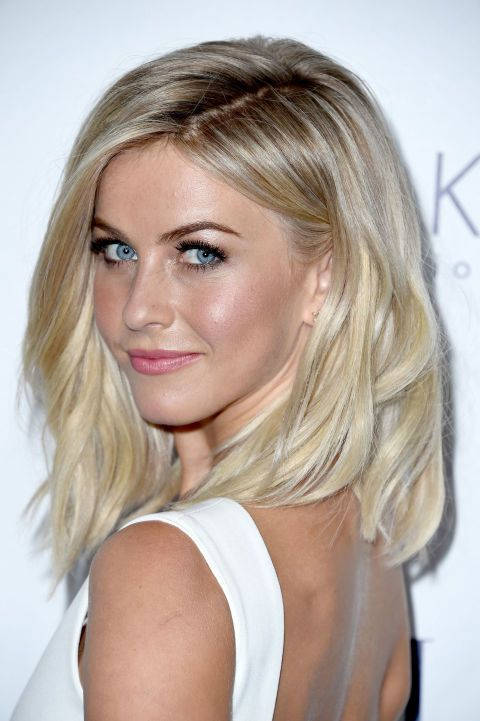 "Julianne Hough's lob is another great example of this length. If you do decide to keep your hair long but love the idea of this look, you can create a faux bob about that same length with a little help from your winter accessories. ""I love when I see girls that wear their big coats with their hair tucked in — it creates that instant faux bob look with the little face-framing pieces in the front. It's such a good look for winter."""