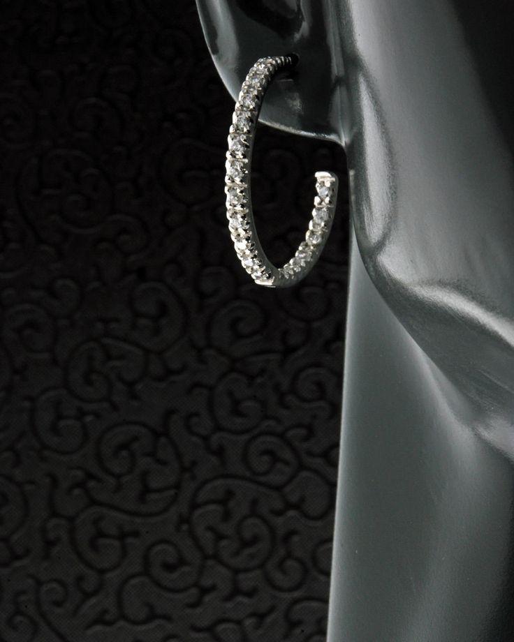 Σκουλαρίκια κρίκοι ασημένια 925 με Ζιργκόν
