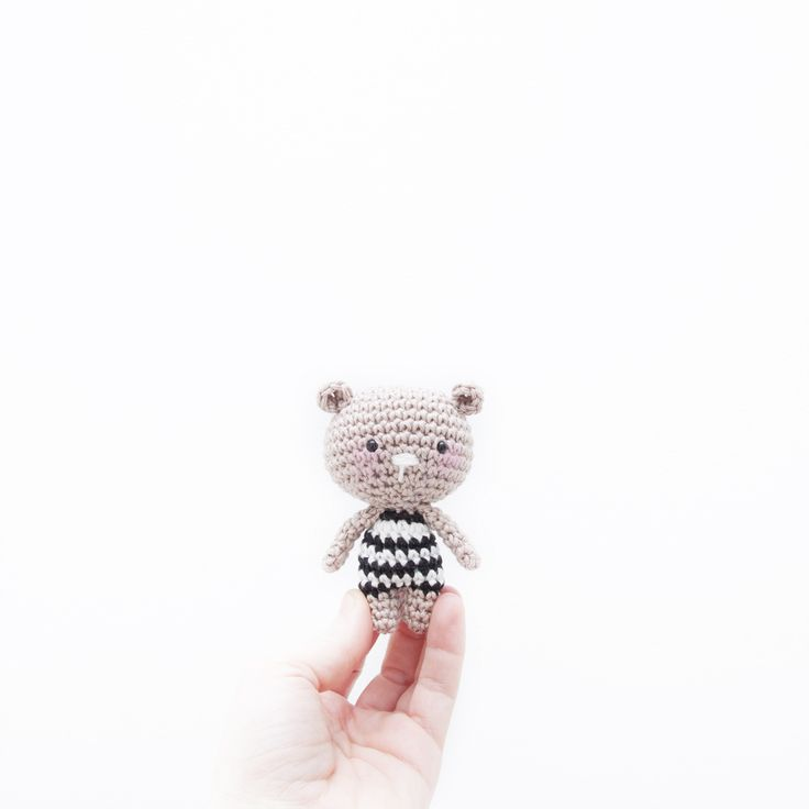 Free crochet pattern. Crochet mini teddy bear. Quick and cute project. Here's the free pattern for a cute teddy bear. Free crochet pattern by Ina Rho