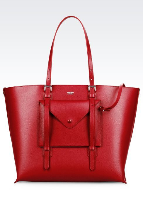 TOTE BAG IN BOARDED CALFSKIN: Shoppers Women by Armani - 1