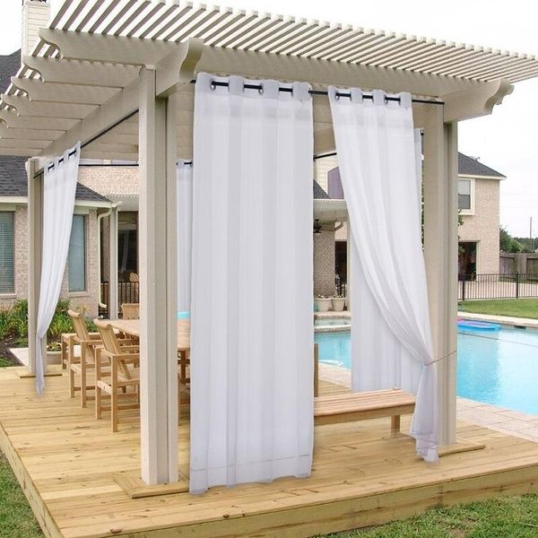 1 Panel Outdoor Waterproof Curtain Soft With Rope For Patio Porch Garden Pavilion Wish Outdoor Waterproof Curtains Indoor Outdoor Curtains Outdoor Sheer Curtain