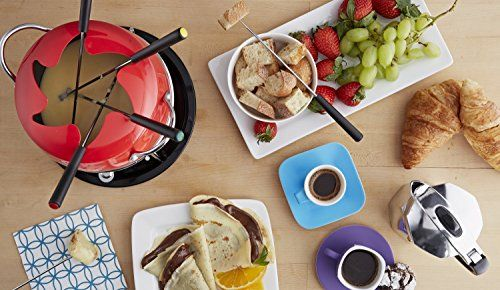 GKM-61023 Features: -Set includes fondue pot, 6 forks, warming stand, burner and snuffer. -GlobalKitchen collection. -Fondue pot material: Carbon steel with nonstick surface. -Color: Red. -Fondue pot with fork rest lid. -6 Fondue forks with multicolored tips. Type: -Fondue Sets. Material: -Aluminum. Color: -Red. Number of Items Included: -10. Dimensions: Overall Height - Top
