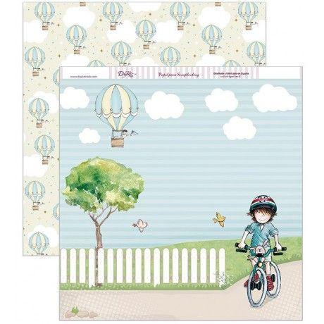 Papel scrapbooking con un niño en bici y un paisaje, por detrás un estampado de globos #scrap #conideade #manualidades