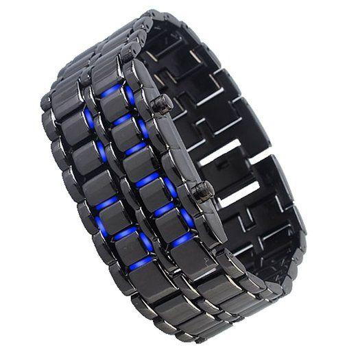 Blue LED Digital Black Lava Style Wrist Watch Iron Metal Samurai Mens