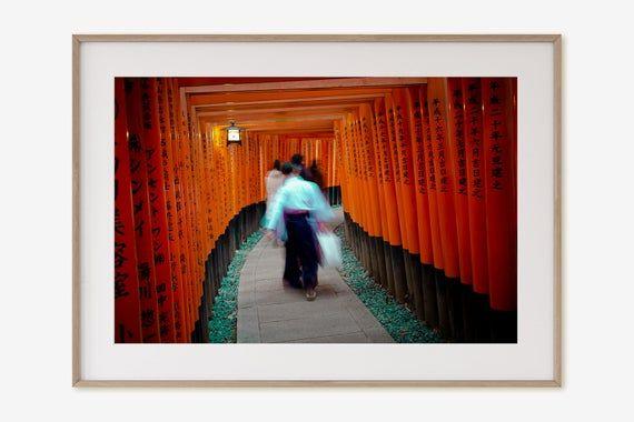Japan Zen Wall Art Kyoto Fushimi Inari Temple Photograph Kyoto Japan Canvas Orange Giclee Print Asia Fine Art Print Tori Gate Print Zen Wall Art Japanese Art Prints Big Wall Art