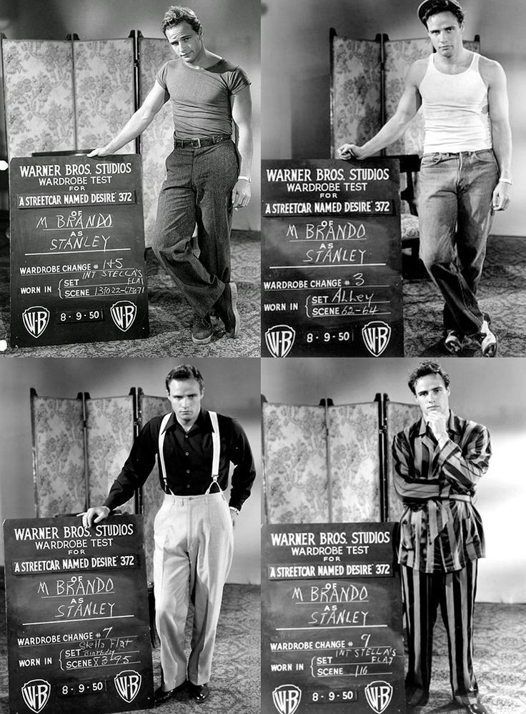 "Marlon Brando costume tests for ""A Streetcar Named Desire"""